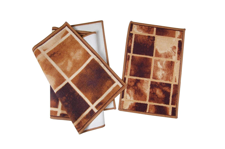 Krishna Handmade INDIAN High-Quality CARPET - 2 Nos/Rajasthani Velvet/Contemporary Design Printed Carpet/Decorative Area Rug/SANDAL & BROWN/Big - 23x54 & Small - 23x14 / [Krish-Mat-01]