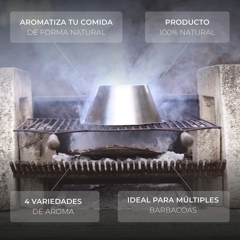 CARBONES REINARES Virutas ahumador Barbacoa Barbacoa de Carbon o de Gas para Chips para ahumar astillas de Madera de barrica de Roble Accesorios BBQ barbacoas Pack 4 Aromas