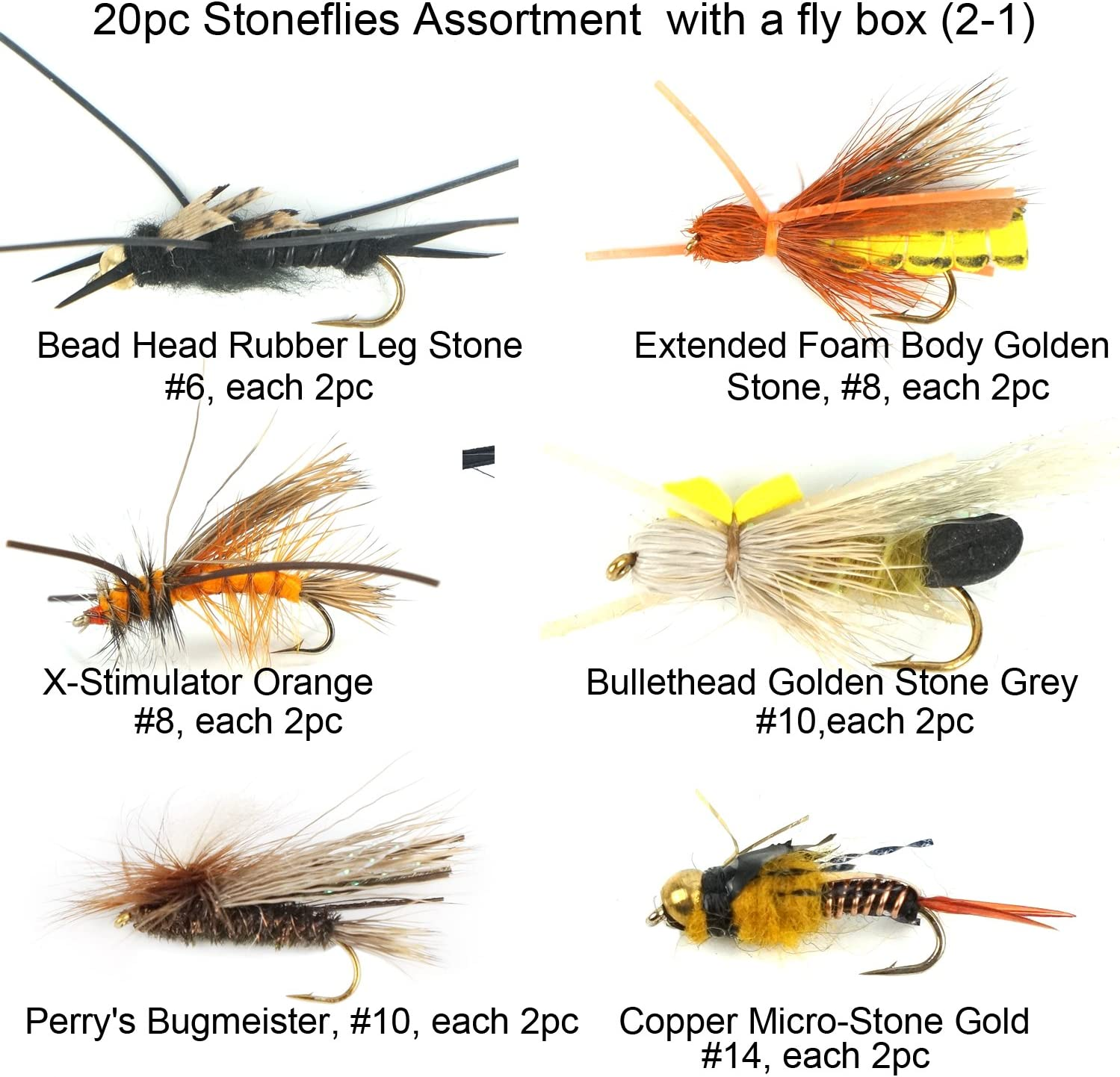 Salmon 6 x Rubber Leg Stimulator Stonefly Dry Fly Fishing Flies For Trout Bass