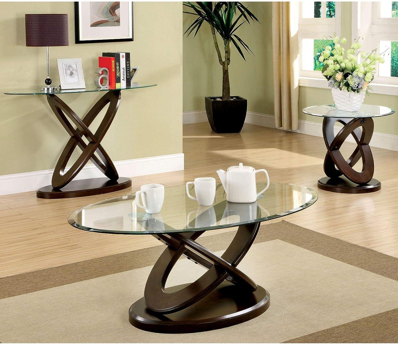 Furniture Of America Darbunic Wood 3 Piece Coffee Table Set In Dark Walnut Furniture Decor Amazon Com
