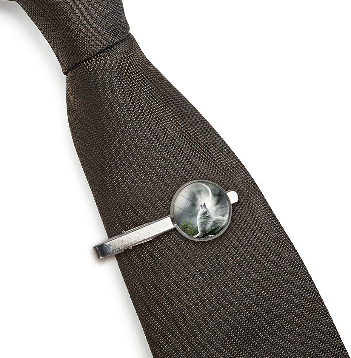 LooPoP Men Tie Clip Handmade Art Picture Wolf Stainless Tie Pins for Business Wedding Shirts Tie Clips Include Gift Box
