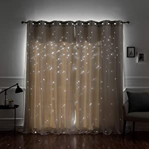 """Aurora Home Star Punch Tulle Overlay Blackout Curtain Panel Pair Biscuit 52"""" W x 84"""" L 84 Inches"""