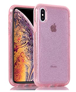 Egotude Series Sparkle Shimmer Dual Layer Hard Back Cover Case for Apple iPhone X (Pink with Gold Glitter)