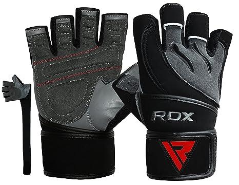 RDX Guanti Palestra Pelle Fitness Lunghi Polso Crossfit Sollevamento Pesi  Allenamento Antisudore Workout Bodybuilding Imbottiti Antiscivolo