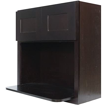Everyday Cabinets 30 Inch Microwave Wall Cabinet In Shaker Espresso With 2  Soft Close Doors 30u0026quot