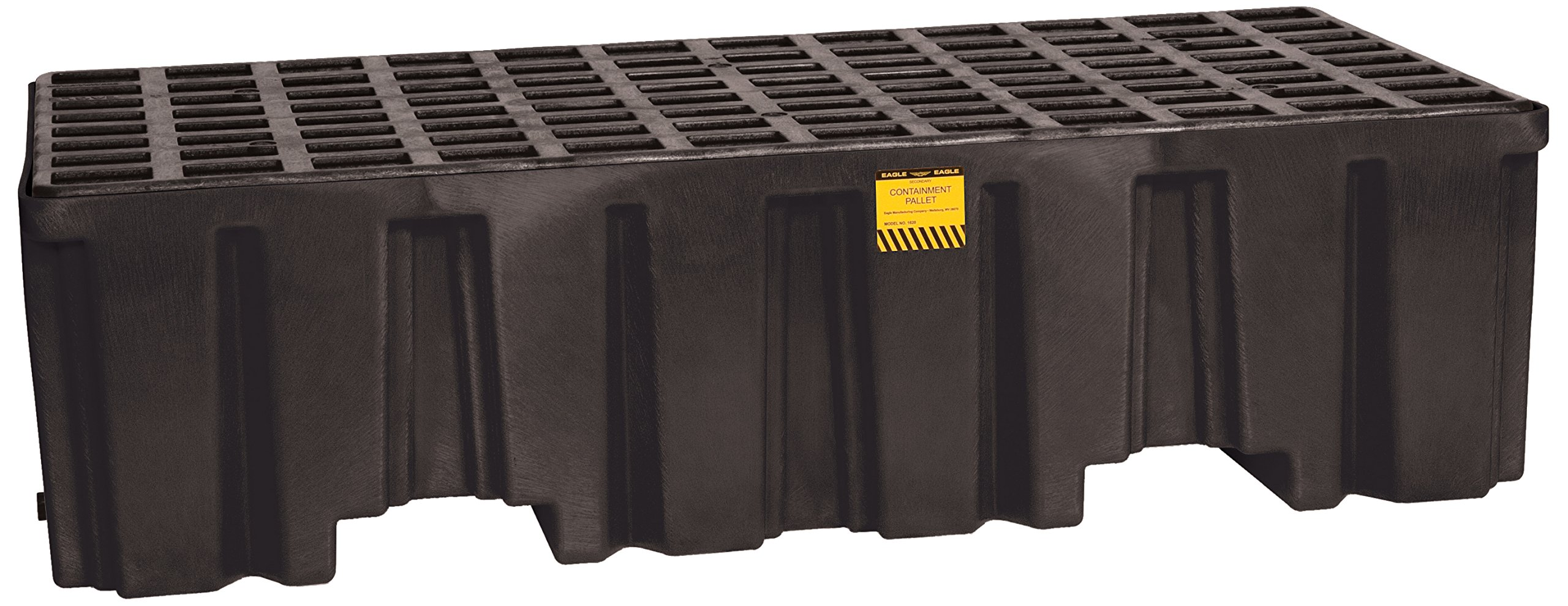 Eagle 1620B Black 2 Drum Containment Pallet with Drain