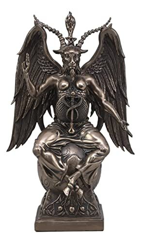 Ebros Large 15 Tall Church of Satan Baphomet Sabbatic Goat Idol Sitting On Globe Statue Satanic Occultic Altar Sculpture Home Decor Solve Et Coagula Illuminati