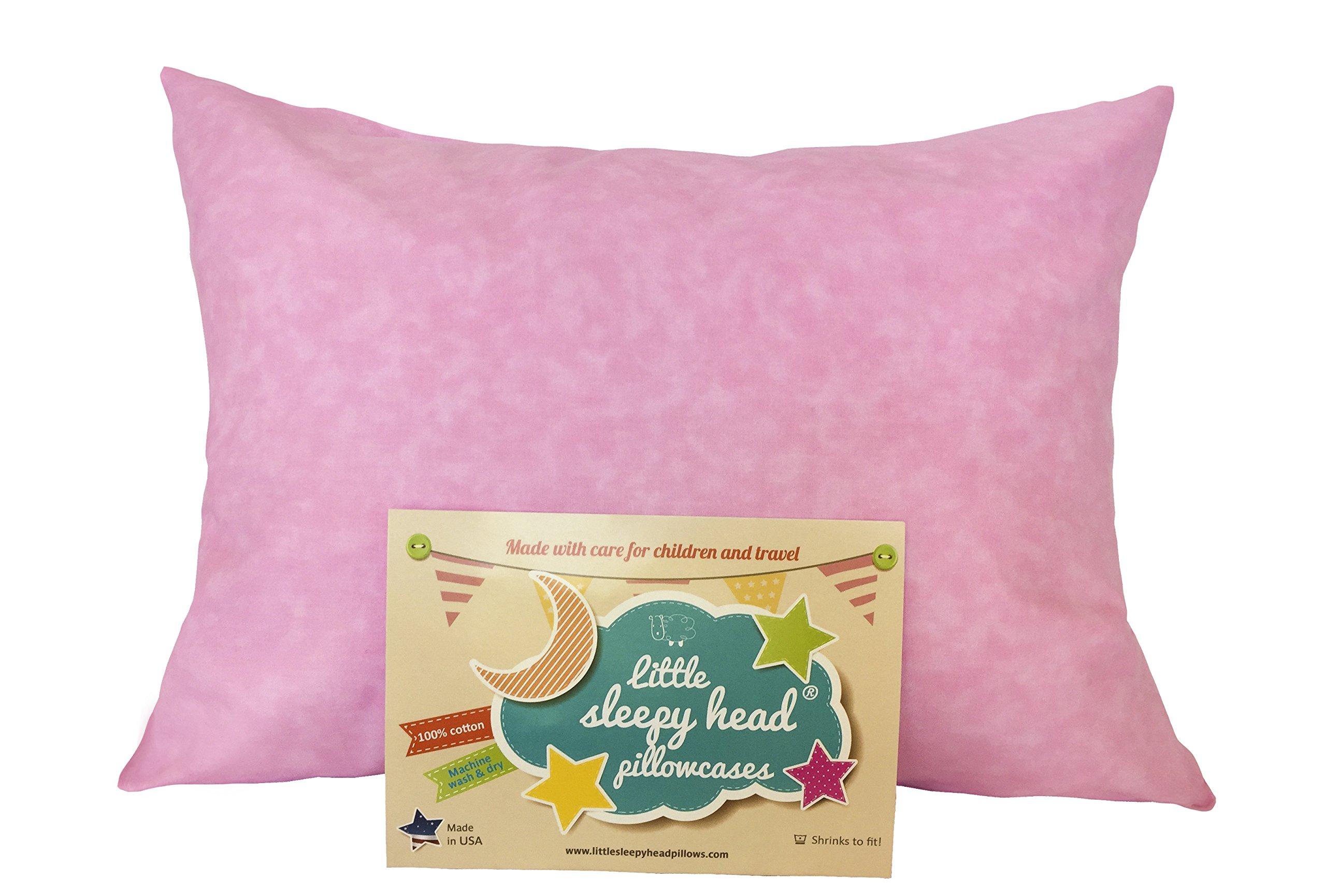 Little Sleepy Head Toddler Pillowcase - Pink Marble, 13 x 18