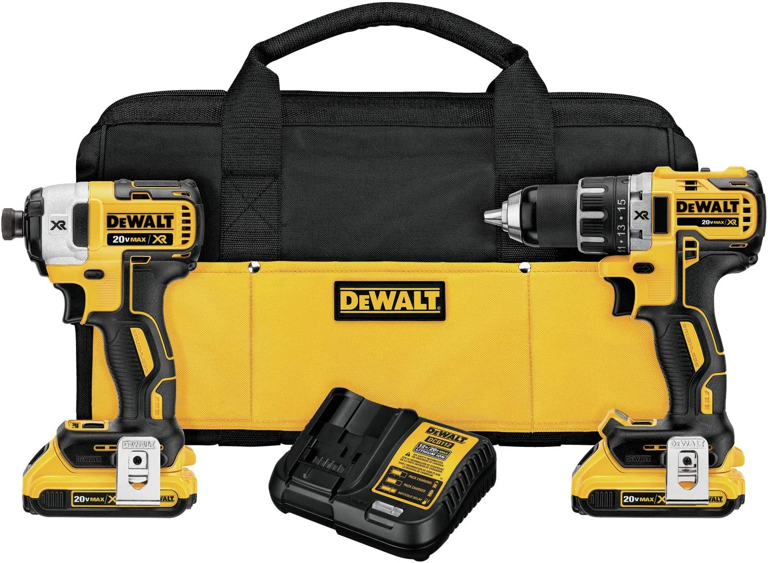 Dewalt 20V MAX XR 2.0Ah Li-Ion Brushless Compact Drill Driver DCD791 Impact Driver DCF887 Combo kit Renewed