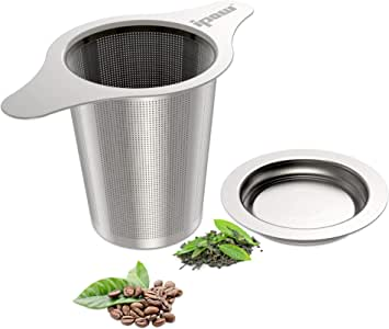 IPOW Upgraded FDA Approved 18/8 Stainless Steel Tea and Coffee Infuser Fine Mesh Filters Tea Strainer Steeper Double Handles for Hanging on Teapots, Mugs, Cups to steep Loose Leaf Tea and Coffee