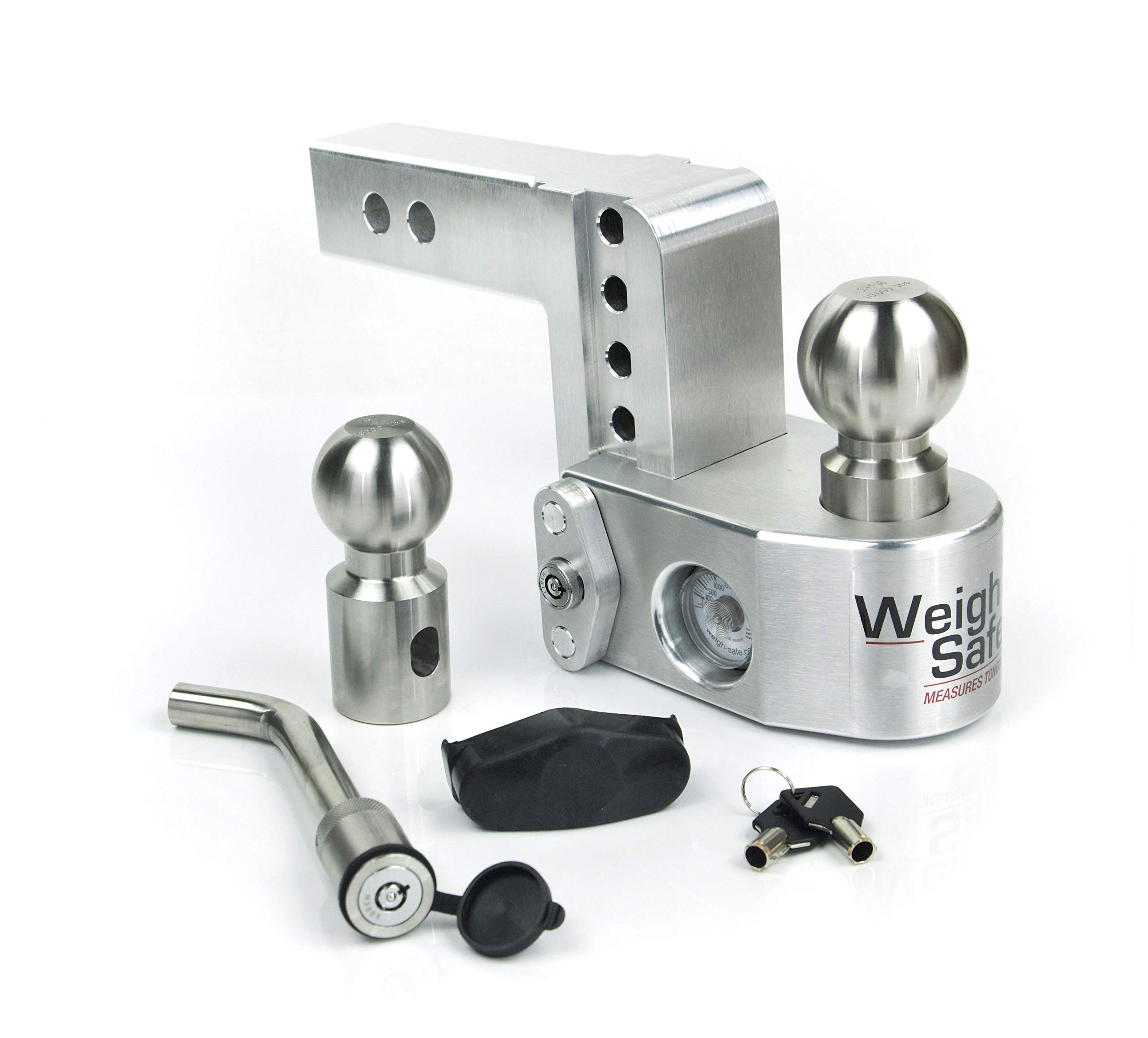 Weigh Safe WS4-2-KA, 4'' Drop Hitch w/ 2'' Shank/Shaft - Adjustable Aluminum Trailer Hitch & Ball Mount w/Built-in Scale, 2 Stainless Steel Balls (2'' & 2-5/16'') Keyed Alike Key Lock and Hitch Pin by Weigh Safe