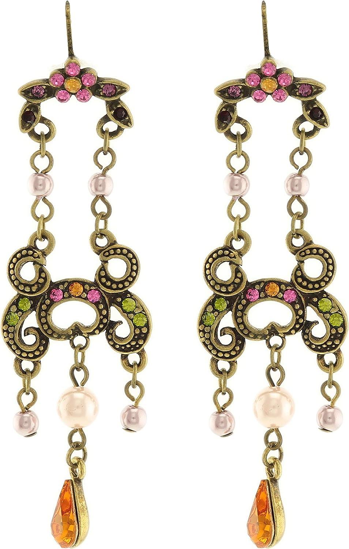 behave® Mujer Cuelga Elegantes Pendientes con Flores y pedrería Hecho de Metal - Rosa Verde - 7cm tamaño