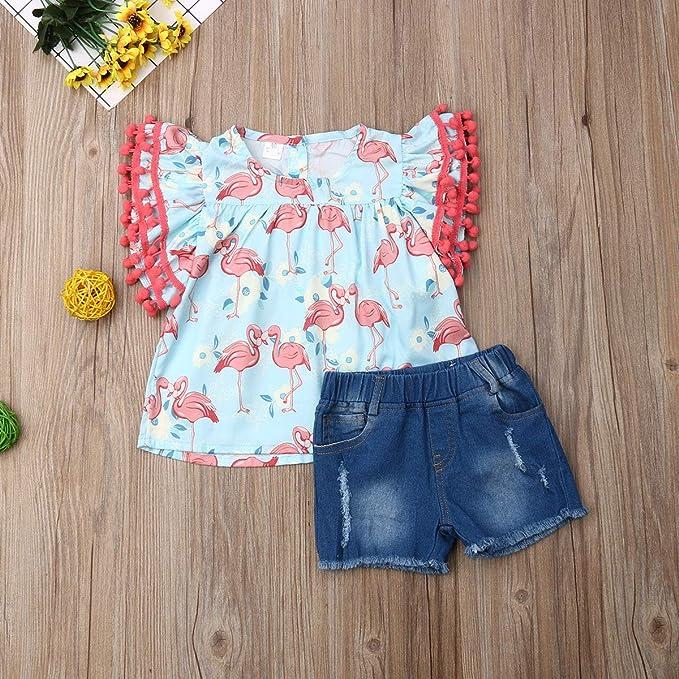 Kids Baby Girls Lace Tassel Denim Shorts Jean Bloomers 1-6Y