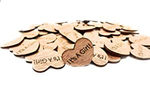 Wooden Heart Confetti ~ It's A Girl ~ Wood Hearts, Wood Confetti Engraved Love Hearts- Rustic Wedding Decor (100 count)