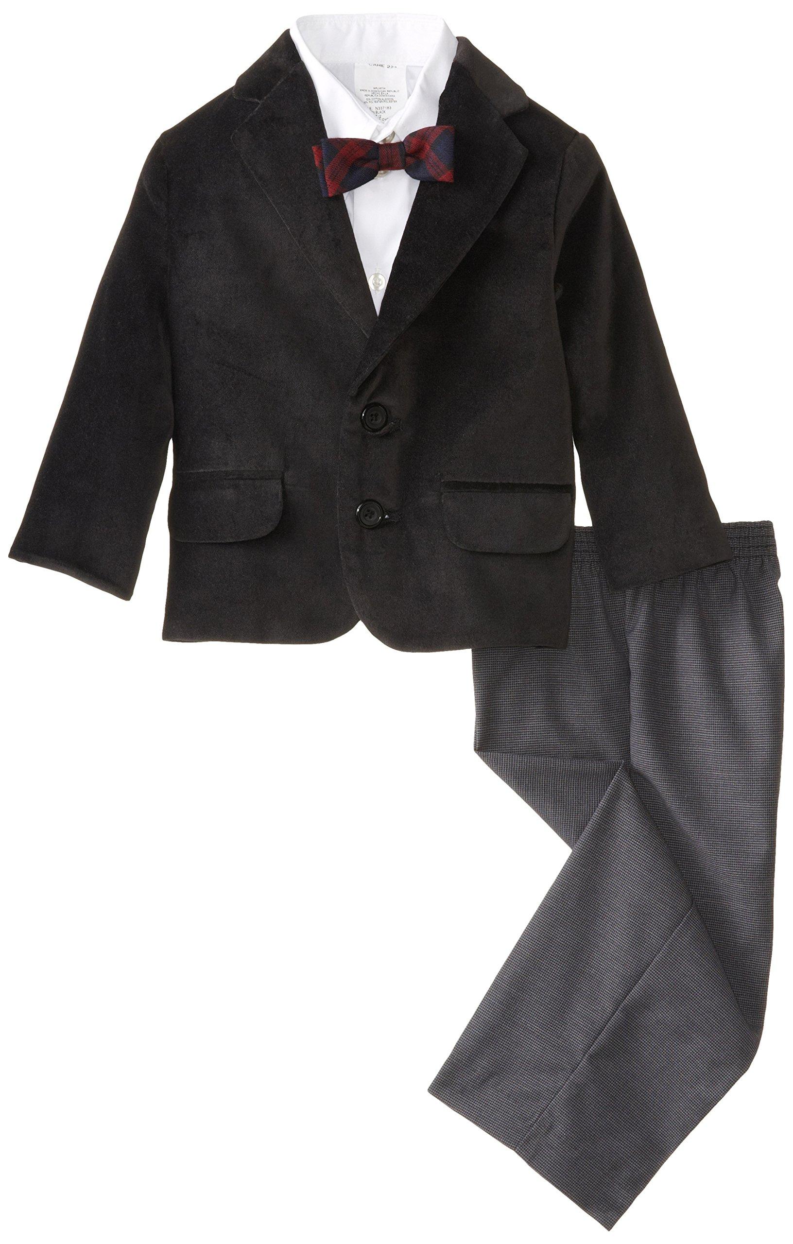 Nautica Little Boys' Velvet Suit Set, Black, 5