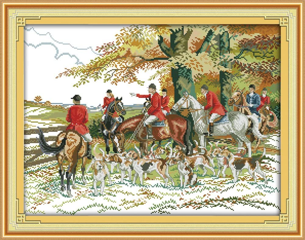 Benway–Kit para cuadro de punto a la Caza Caballos con perros de caza en Forest 14Count 56x 44cm