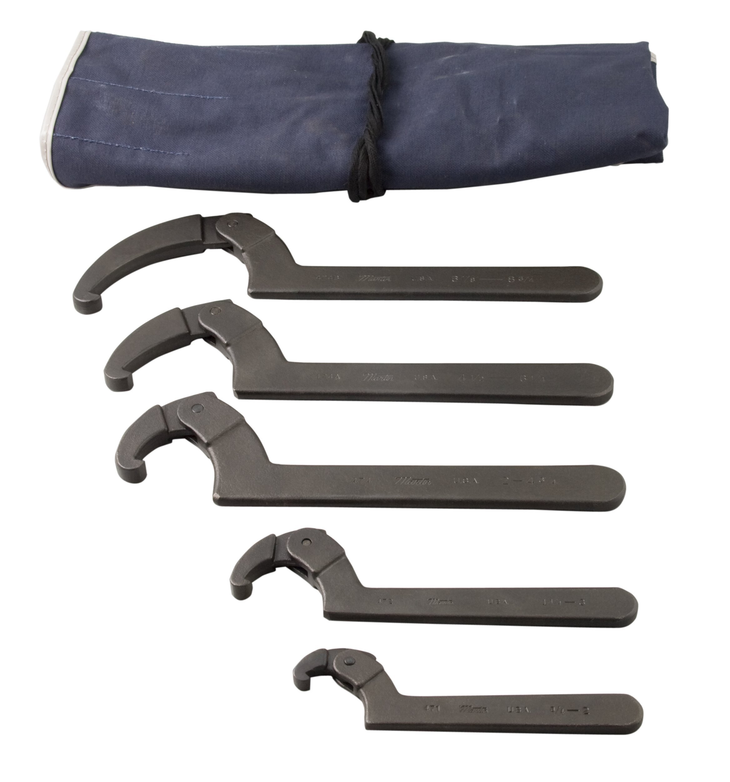 Martin SHW5K Adjustable Hook Spanner Wrench Set, 5 Pieces ranging from 3/4'' to 8-3/4'' in Kit Bag, Industrial Black Finish