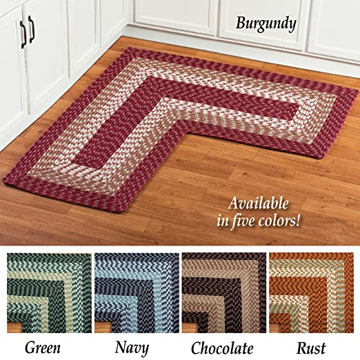 Amazon Com Collections Etc L Shaped Corner Kitchen Laundry Bath Braided Rug Chocolate Kitchen Dining