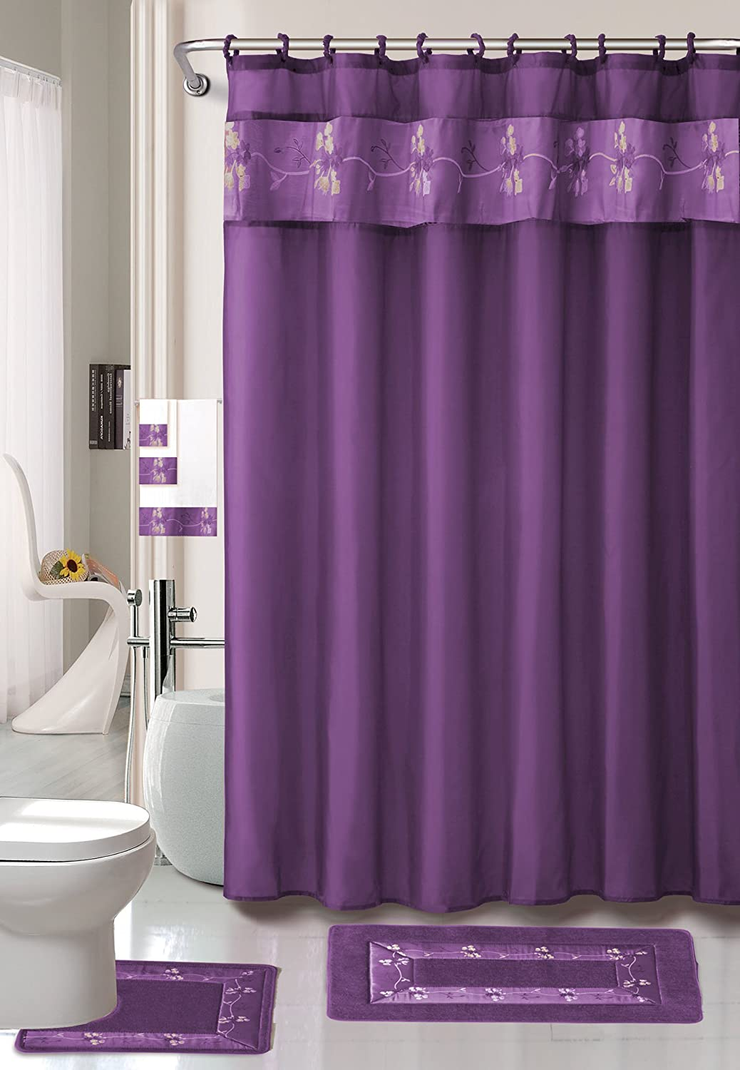 amazoncom purple flower 18 piece bathroom set 2 rugsmats 1 fabric shower curtain 12 fabric covered rings 3 pc decorative towel set home kitchen