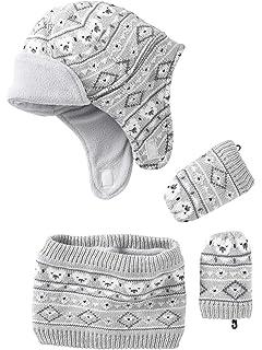 VERTBAUDET Bonnet + snood + moufles bébé tricot doublés polaire Gris clair  chiné 3 6M 9558e8d13d7