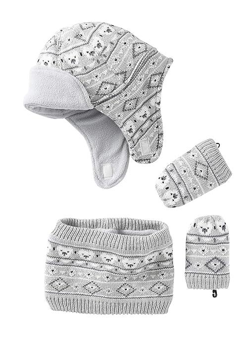 58e33b74336 VERTBAUDET Bonnet + snood + moufles bébé tricot doublés polaire Gris clair  chiné 3 6M