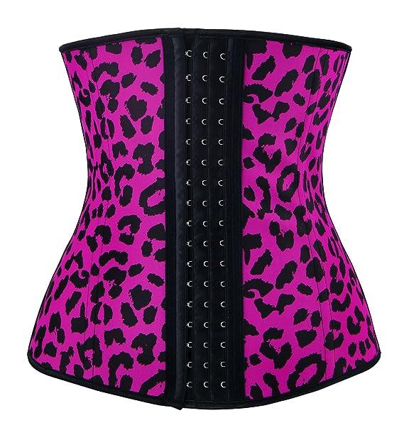 78f5fcaf0a Charmian Women s Leopard Latex Underbust Waist Training Corset for Weight  Loss Fuchsia Leopard X-Small
