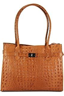 klassische ital. Leder Handtasche Schultertasche cognac Kroko Prägung - 35x27x15 cm (B x H x T) Belli