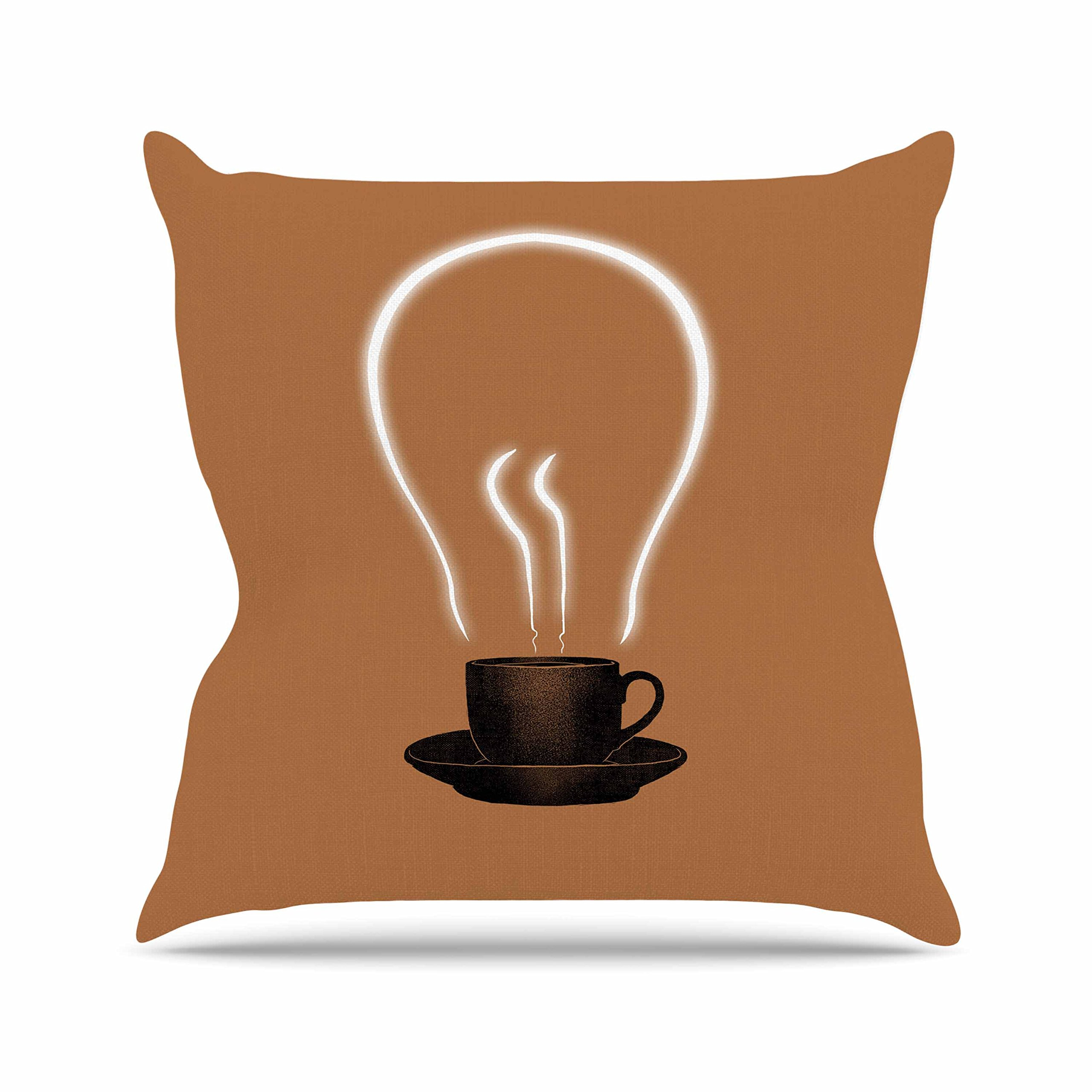 Kess InHouse Digital Carbine The Power Of Coffee Brown Food Outdoor Throw Pillow, 16'' x 16''