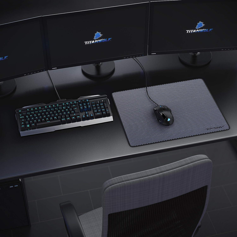 Gummiunterseite f/ür stabilen Halt verbessert Pr/äzision und Geschwindigkeit Gaming Mauspad mit gen/ähten Kanten Gaming und Office mauspad f/ür Laptop Titanwolf Computer /& PC 440 x 350 x 3 mm