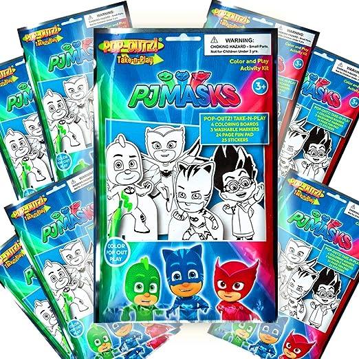 PJ Masks Take & Play Paquetes para colorear recuerdos de fiesta (paquete de 8)