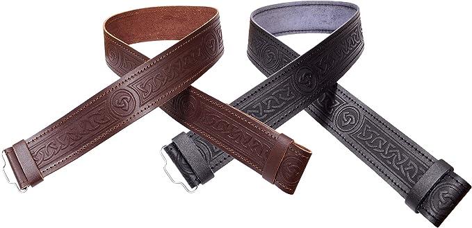 Black Leather Plain Scottish Highland Kilt Belt With Celtic Design Chrome Buckle