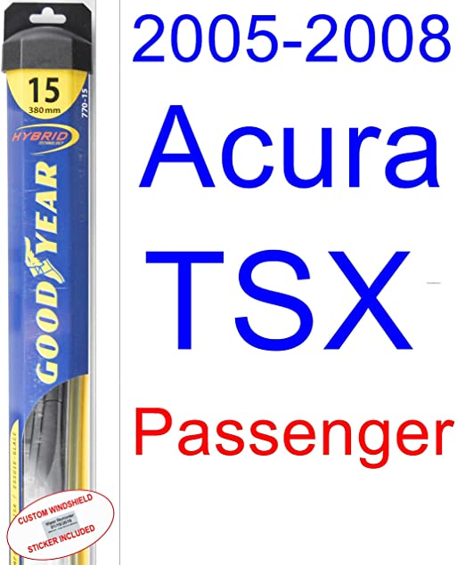 Amazon.com: 2005-2008 Acura TSX Replacement Wiper Blade Set/Kit (Set of 2 Blades) (Goodyear Wiper Blades-Hybrid) (2006,2007): Automotive