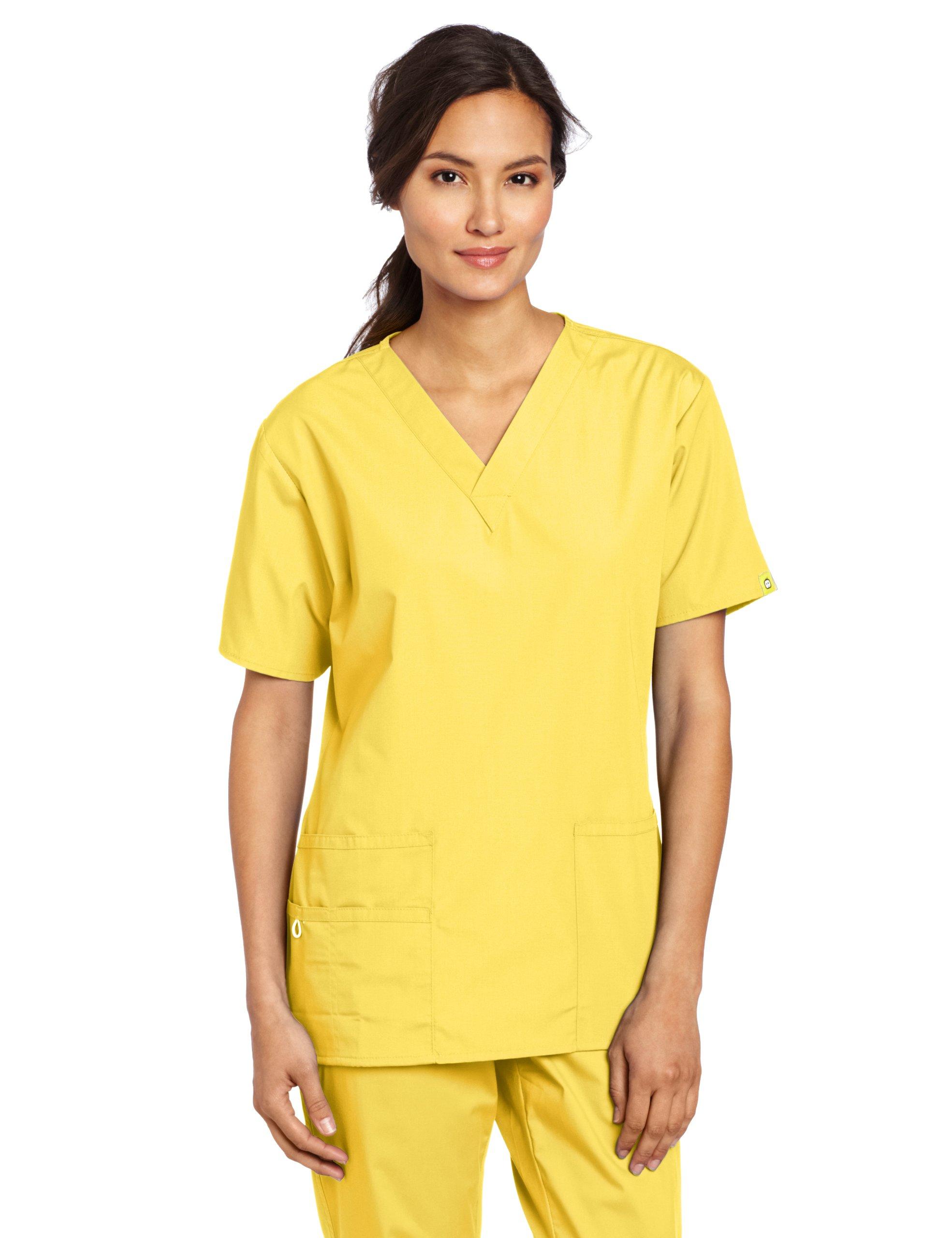 WonderWink Women's Scrubs Bravo 5 Pocket V-Neck Top, Yellow, 2X-Large
