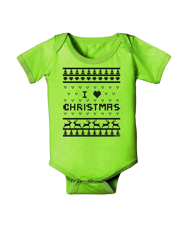 TooLoud I Heart Christmas Ugly Christmas Sweater Baby Romper Bodysuit
