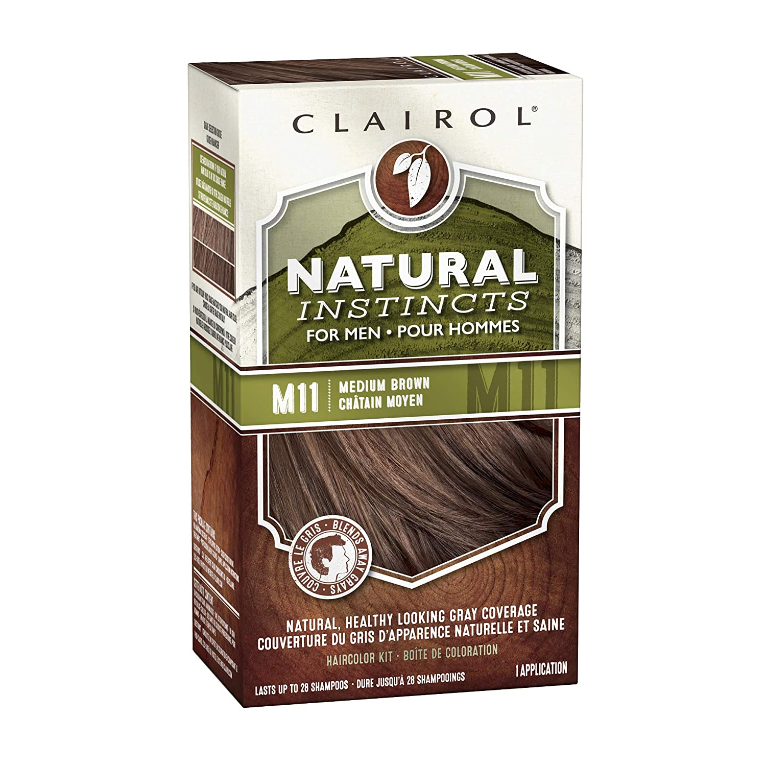 Clairol Natural Instincts Semi-Permanent Hair Color For Men, M11 Medium Brown Color, 3 Count