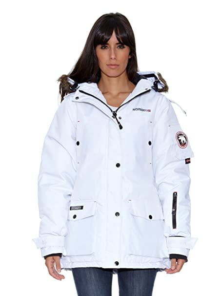 Geographical Norway Abrigo Bugsy Lady Long Basic (P) Blanco S/M: Amazon.es: Ropa y accesorios