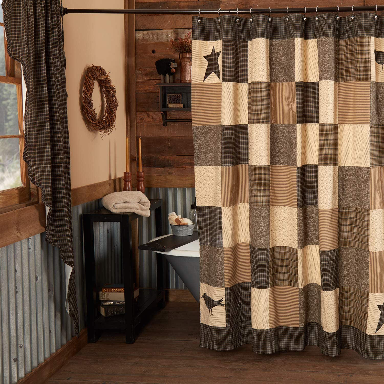 Vhc Brands Kettle Grove Shower Curtain 72x72 Primitive Country Patchwork Design Country Black And Creme Home Kitchen