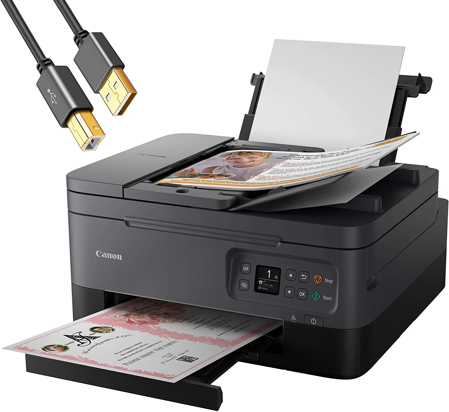 Canon PIXMA TR 7000 Series All-in-One Color Wireless Inkjet Printer Home Office- Black - Print Copy Scan- Auto 2-Sided Print, 1.44