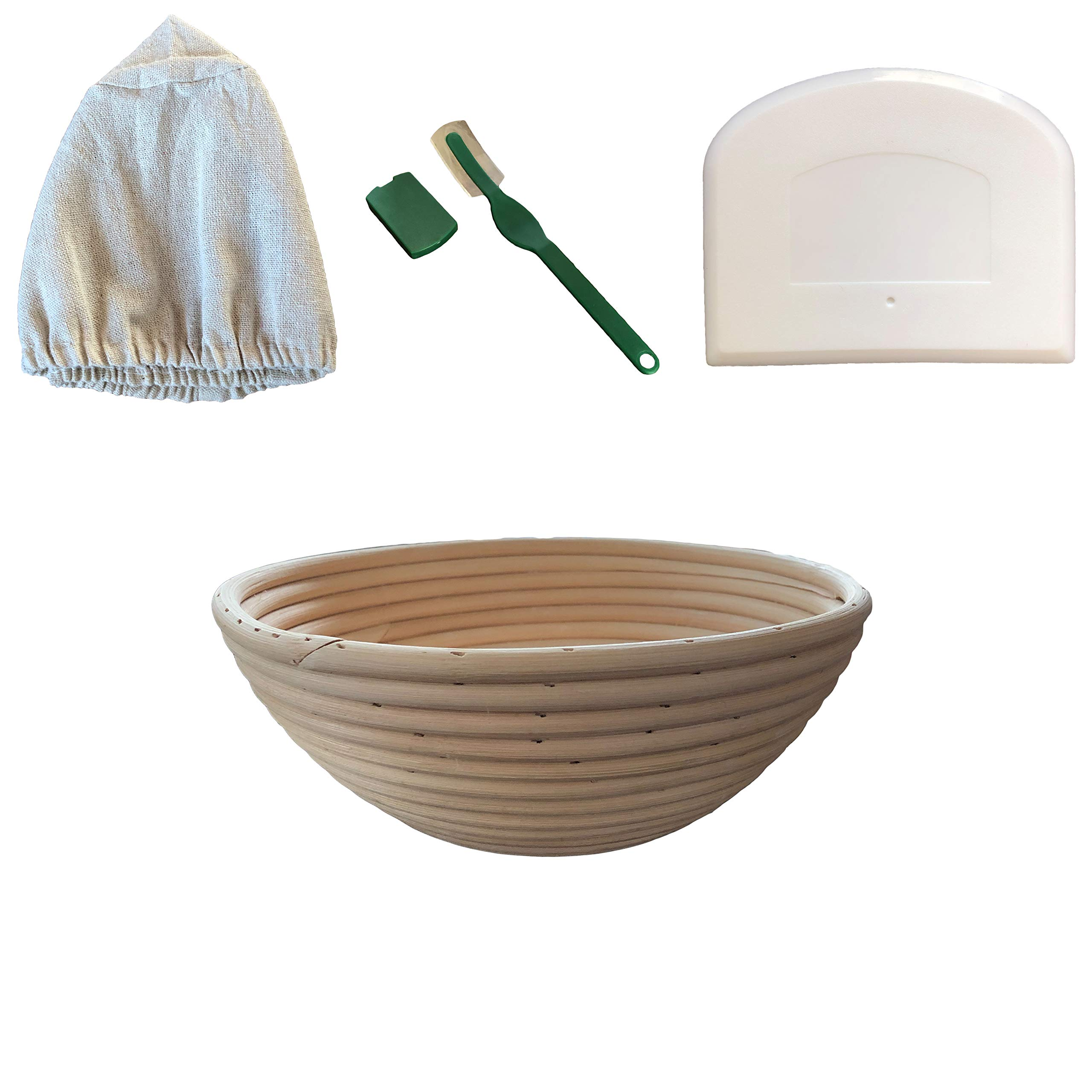 Make Beautiful Sourdough Bread with Baker's Reserve Ultimate Bread Baking Kit - Kit Includes Round 9 inch Banneton, Linen Liner, Dough Scraper and Dough Lame - Perfect for Making Rustic, Artisan Bread