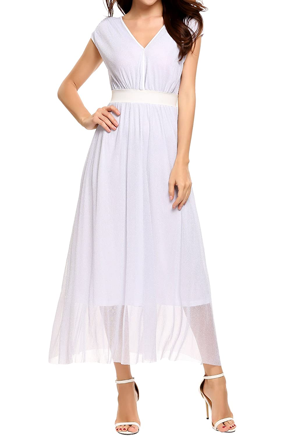 Meaneor Women's Metallic Sparkle V Neck Sleeveless Fit and Flare Pleated Party Dress, White, M #AMH010429_W_M