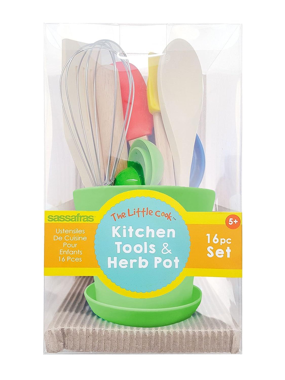Sassafras Little Cook Children's Kitchen Tools in Herb Pot Gift Set 22226BX