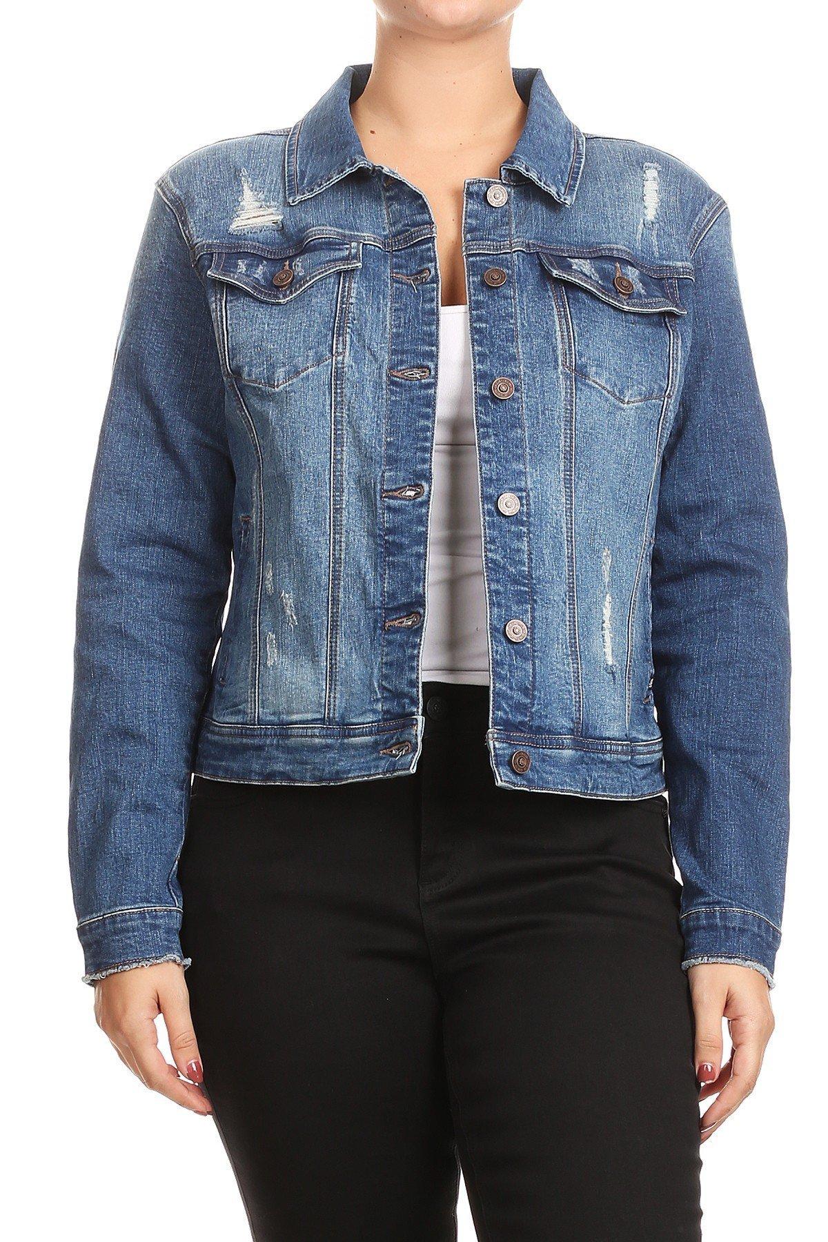 SALT TREE Women's EnJean Women's Plus Size Distressed Denim Jacket