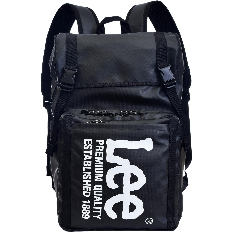 (リー) Lee ロゴプリント バックパック 18l メンズ レディース 男女兼用 フラップカバーリュック Lee-0421056 B076VCK3K1 ブラック/ホワイト ブラック/ホワイト