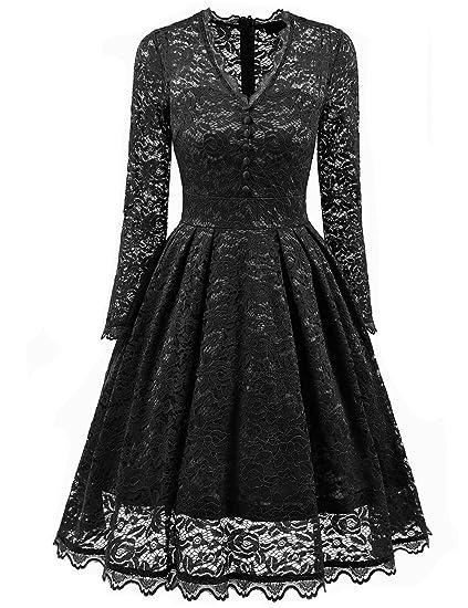 Bright Deer Victorian Vintage V-Neck Long Sleeve Lace Frilled Elegant Formal Prom Evening Party