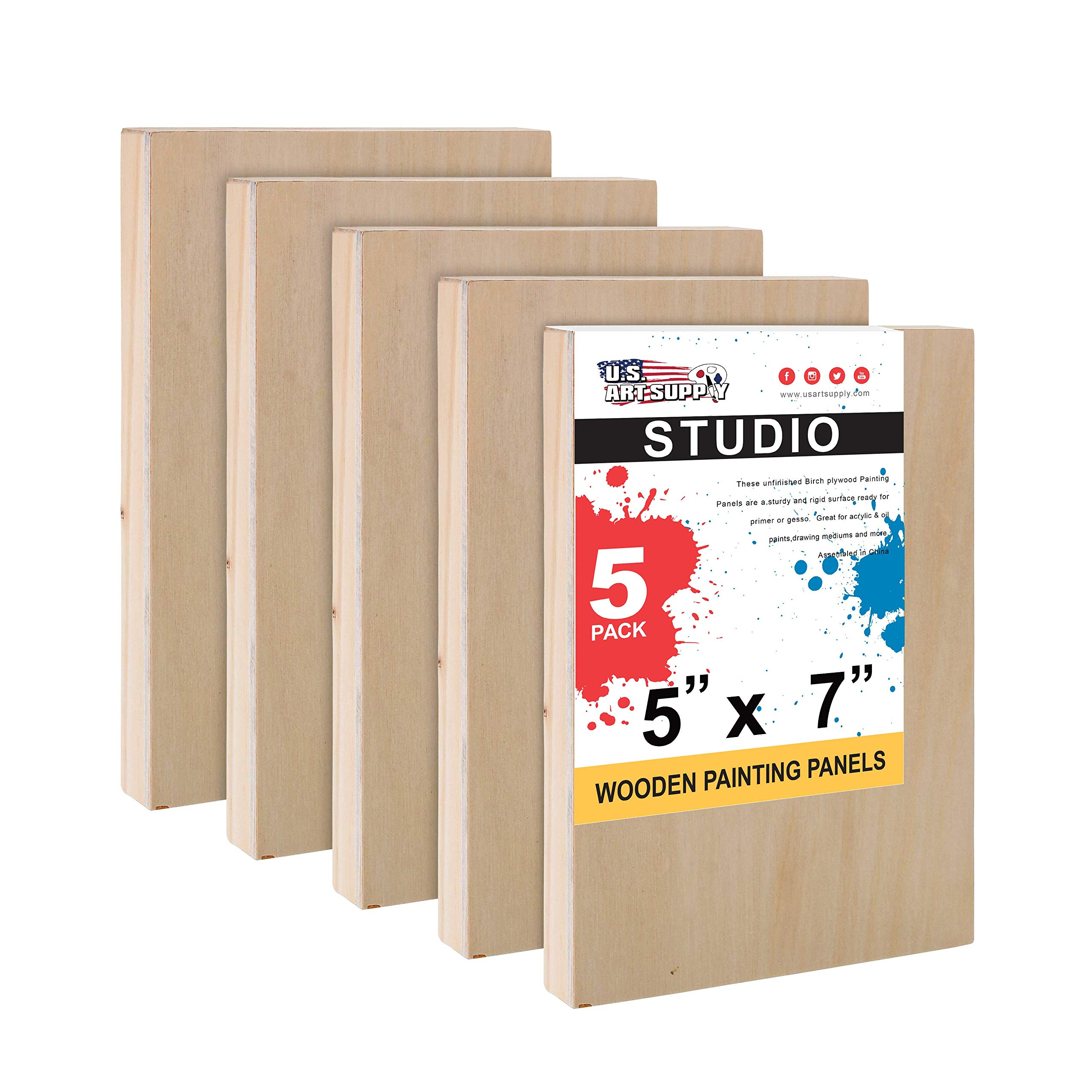 U.S. Art Supply 5'' x 7'' Birch Wood Paint Pouring Panel Boards, Studio 3/4'' Deep Cradle (Pack of 5) - Artist Wooden Wall Canvases - Painting Mixed-Media Craft, Acrylic, Oil, Watercolor, Encaustic by U.S. Art Supply