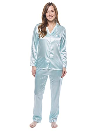Noble Mount Twin Boat Womens Satin Pajama/Sleepwear Set - Aqua - S