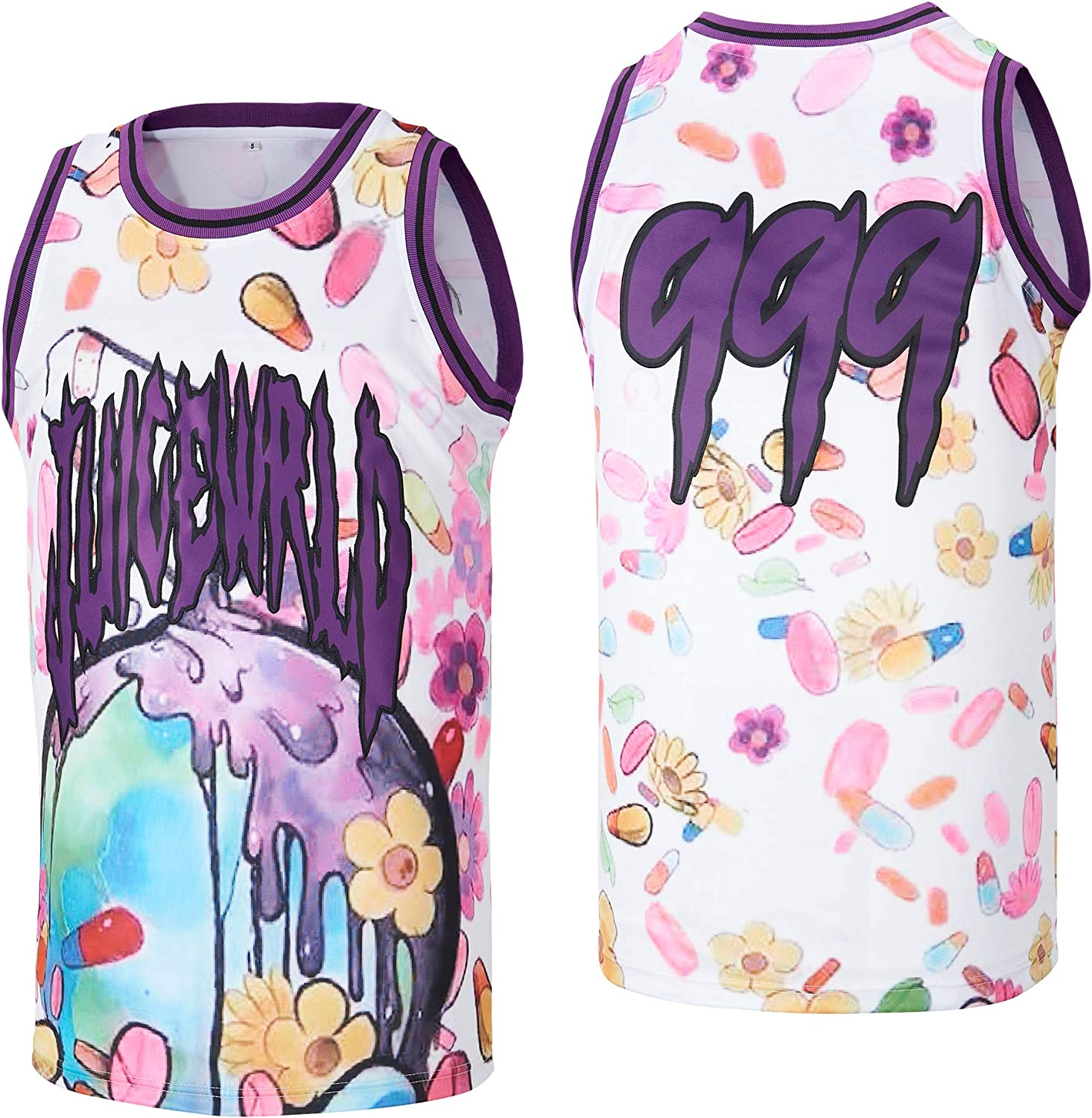 Men's Juice 999 Globe Hip Hop Basketball Stitched Online limited product Rap Ranking TOP17 Jersey Whi