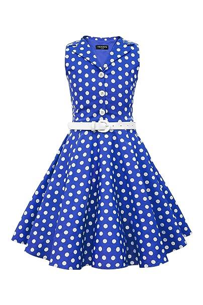 BlackButterfly Niñas Holly Vestido de Lunares Vintage Años 50 (Azul Cobalto, 11