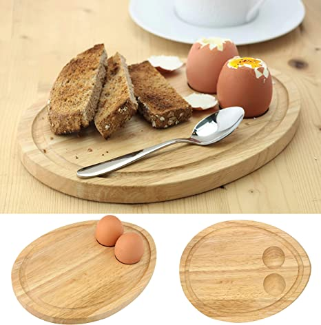 Apollo Rubberwood Breakfast Bread Toast Serving Tray with Egg /& Cheese Holder Board