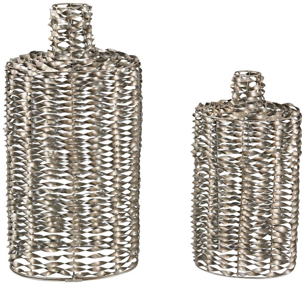 Sterling Metal Work Vases Set of 2